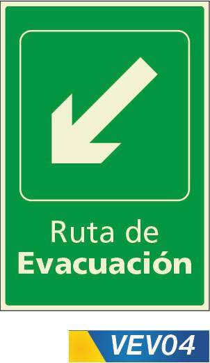 Señales de evacuación bajando izquierda