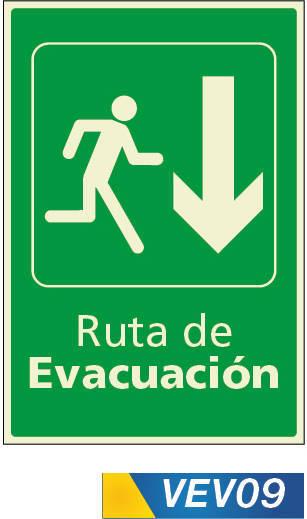 Señales de evacuación abajo