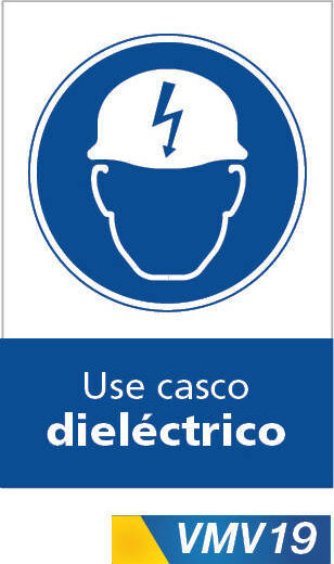 Señales de obligación use casco dielectrico