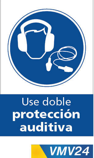 Señales de obligación use doble proteccion auditiva
