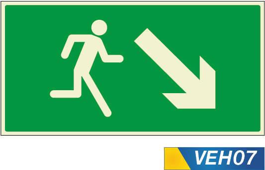 señales de evacuación bajando derecha