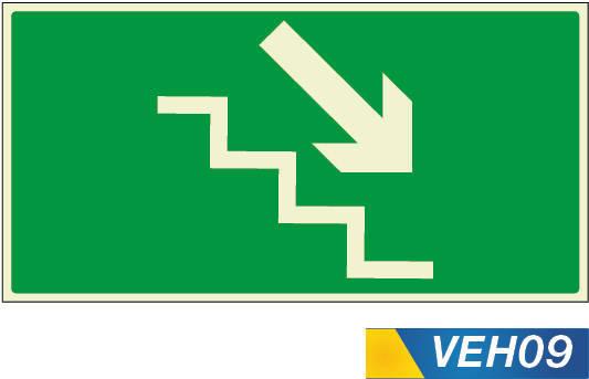 señales de evacuación escaleras derecha