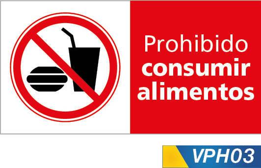 Señales de prohibición, no consumir alimentos