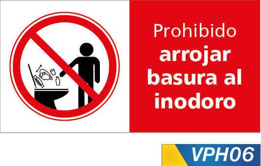 Señales de prohibición, prohibido arrojar basuras al innodoro