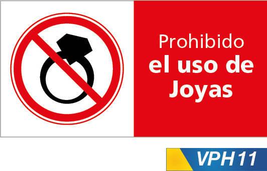 Señales de prohibición, prohibido el uso de joyas