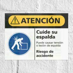 Señal Precaución Cuide su Espalda