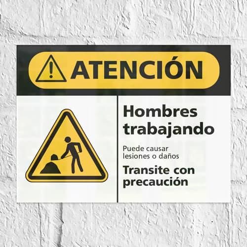 Señal Precaución Hombres Trabajando