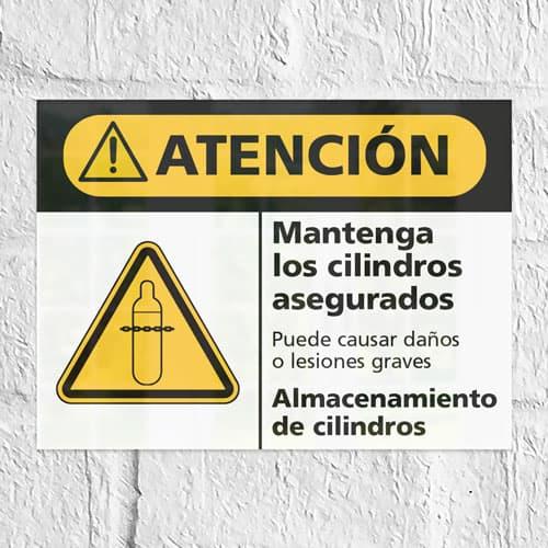 Señal Precaución Mantenga los Cilindros Asegurados