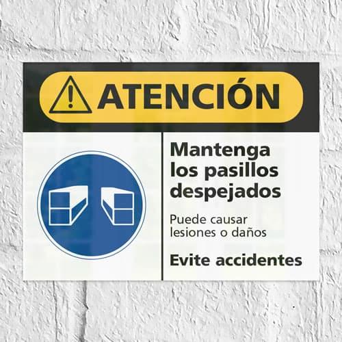 Señal Precaución Mantenga los Pasillos Despejados