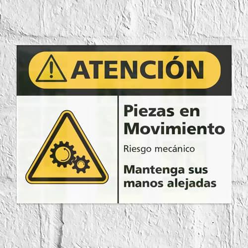 Señal Precaución Piezas En Movimiento