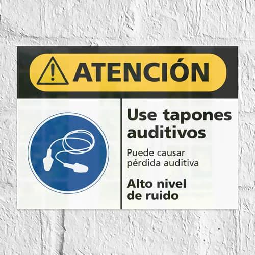 Señal Precaución Use Tapones Auditivos