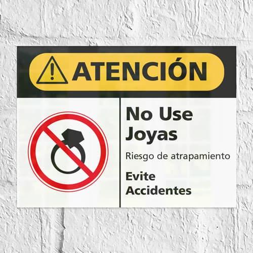 Señal Precaución No Use Joyas