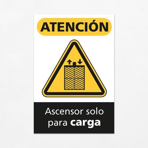 Señal Precaución Ascensor solo para Carga V