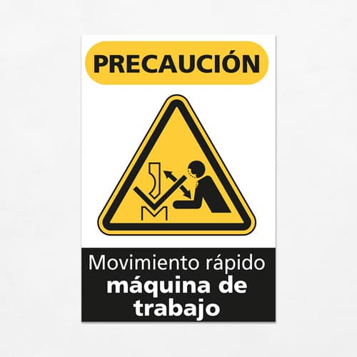 Señal Precaución Movimiento Rápido Máquina de trabajo V