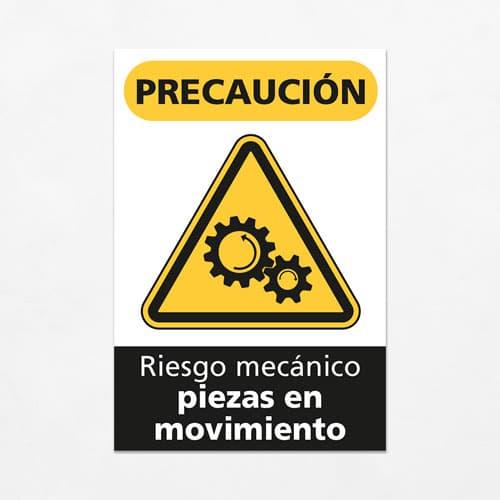 Señal Precaución Riesgo Mecánico Piezas en Movimiento V