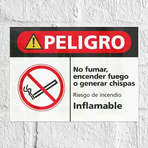 Señal Peligro No Fumar ,Encender Fuego o Generar Chispas H