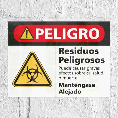 Señal Peligro Residuos Peligrosos H