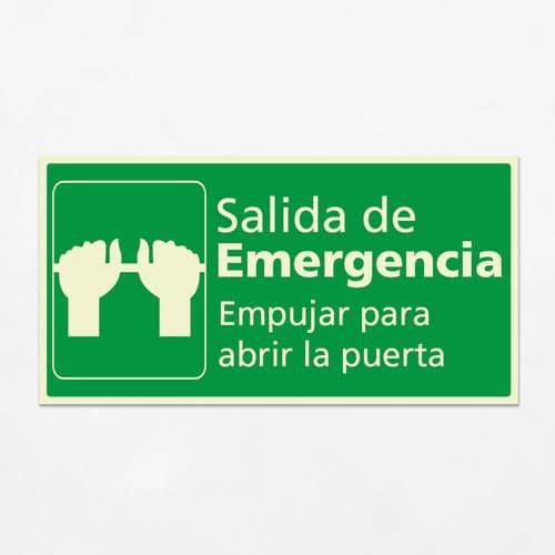 Señal Salida de Emergencia Empujar para Abrir H