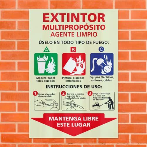 Señal Extintor Multipropósito Agente Limpio