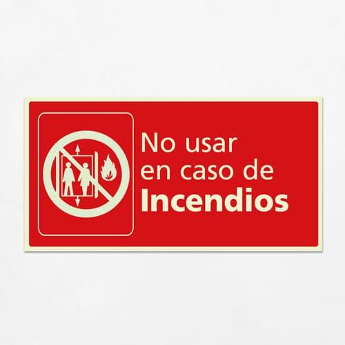 Señal No usar en Caso de Incendio H