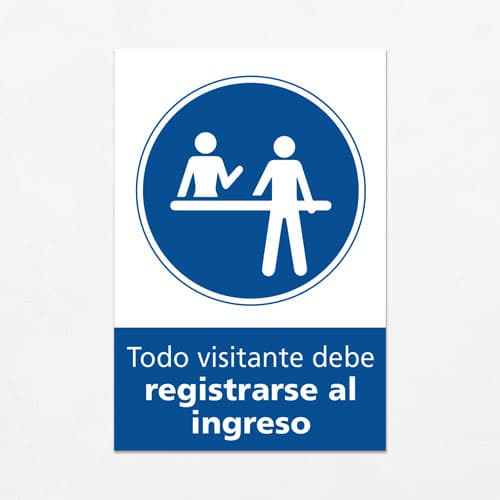 Señal Todo Visitante debe Registrarse al Ingreso V