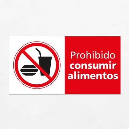 Señal Prohibido No Consumir Alimentos en esta H