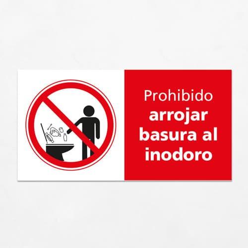 Señal Prohibido Arrojar Basuras al Inodoro H