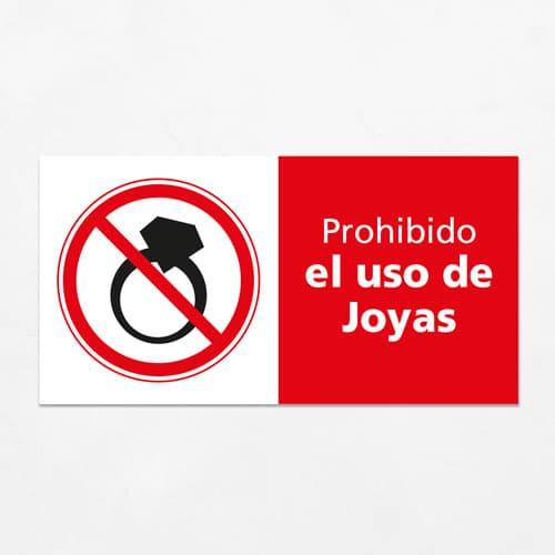 Señal Prohibido el Uso de Joyas H