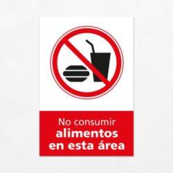 Señal Prohibido No Consumir Alimentos en esta Área V
