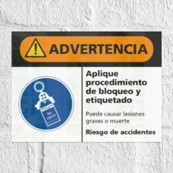 Señal Advertencia Aplique Procedimiento de Bloqueo y Etiquetado