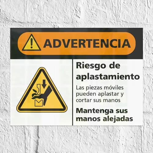 Señal Advertencia Riesgo de Aplastamiento