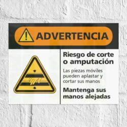 Señal Advertencia Riesgo de Corte o Amputación