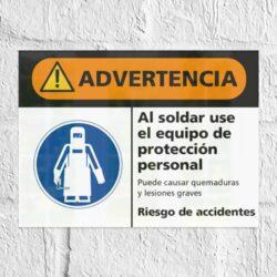 Señal Advertencia Al Soldar Use el Equipo de Protección Personal