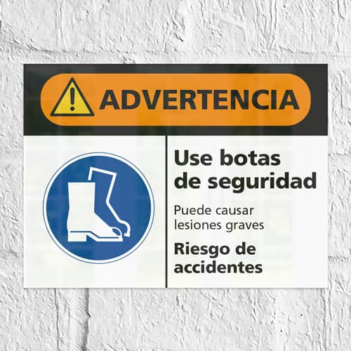 Señal Advertencia Use Botas de Seguridad