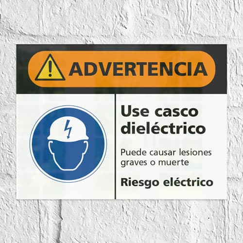 Señal Advertencia Use Casco Dieléctrico