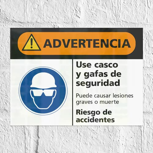 Señal Advertencia Use Casco y Gafas de Seguridad