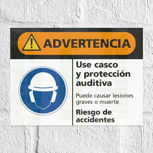 Señal Advertencia Use Casco y Protección Auditiva