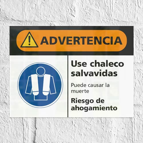 Señal Advertencia Use Chaleco Salvavidas