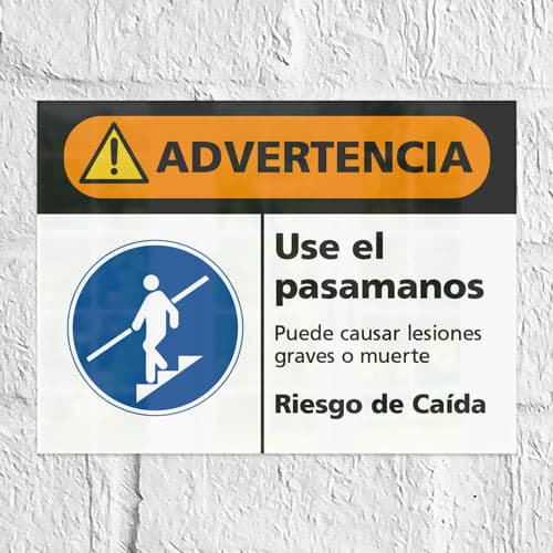 Señal Advertencia Use el Pasamanos
