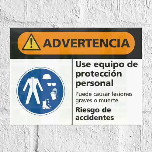 Señal Advertencia Use Equipo de Protección Personal