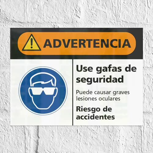 Señal Advertencia Use Gafas de Seguridad