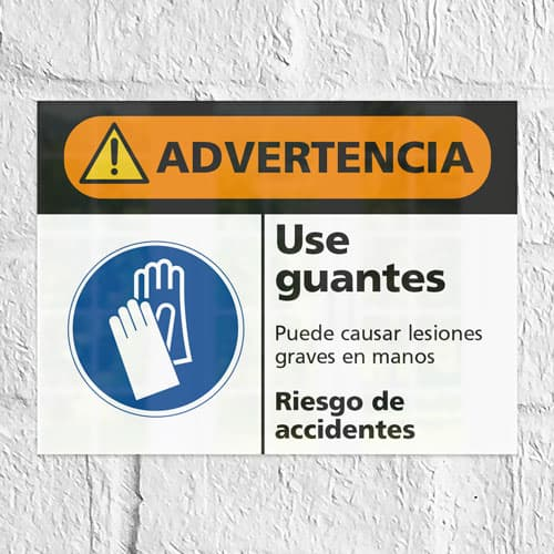 Señal Advertencia Use Guantes
