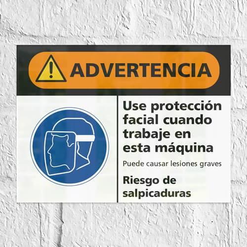 Señal Advertencia Use Protección Facial Riesgo de Salpicaduras