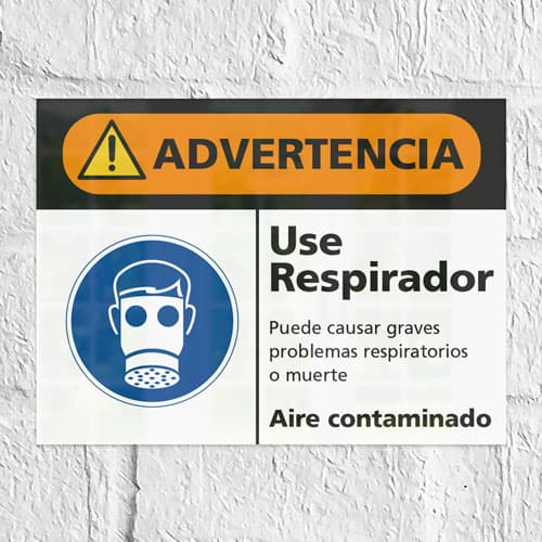 Señal Advertencia Use Respirador