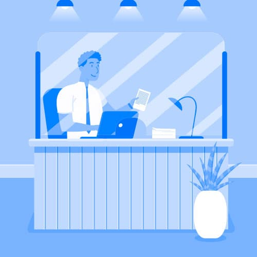 pantallas protectoras para notarias y oficinas