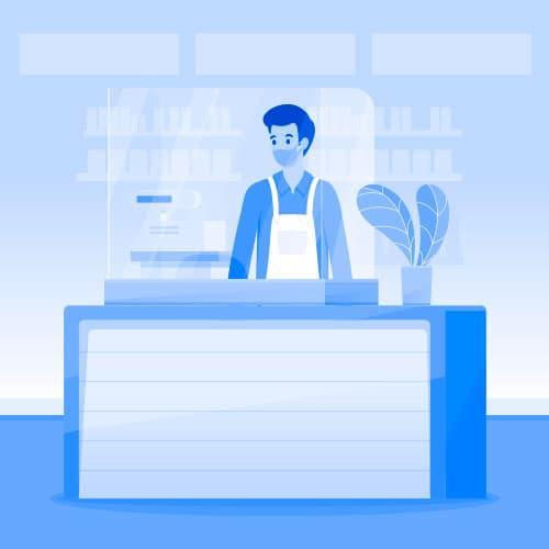 pantallas protectoras para tiendas y supermercados